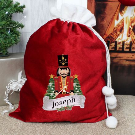 Personalised Nutcracker Pom Pom Christmas Sack